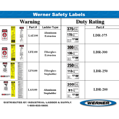 WERNER LDR300 DUTY RATING LABEL TYPE 1A 300LB CAPACITY