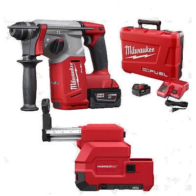 "MILWAUKEE 2712-22DE M18 FUEL 1"" SDS PLUS ROTARY HAMMER & HAMMERVAC DEDICATED DUST EXTRACTION KIT"