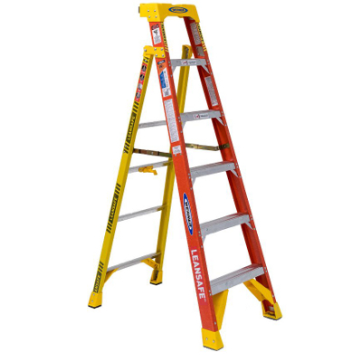 WERNER L6206 6' LEANSAFE FIBERGLASS LADDER TYPE 1A 300LB RATING