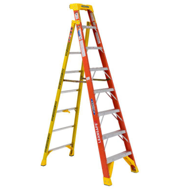 WERNER L6208 8' LEANSAFE FIBERGLASS LADDER TYPE 1A 300LB RATING