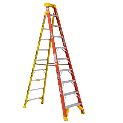 WERNER L6210 10' LEANSAFE FIBERGLASS LADDER TYPE 1A 300LB RATING