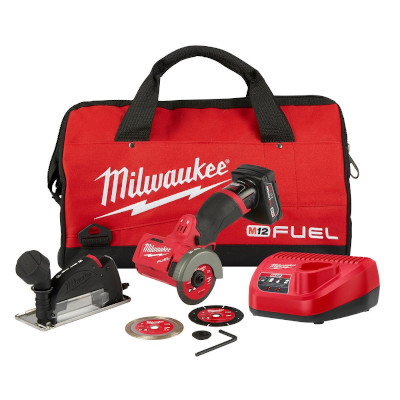 "MILWAUKEE 2522-21XC M12 FUEL 3"" COMPACT CUTOFF TOOL 4.0AH 1-BATTERY KIT CORDLESS"